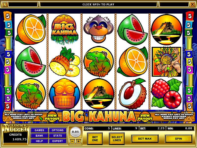 The emblem of Big Kahuna Slot Game functions as a symbol, but it can substitute for the fruit symbols in mixes.Obtaining a Wild on the reels signifies that a guaranteed win since even 1 emblem icon overlooks -- one Big Kahuna Slot Game emblem pays equally, while 5 symbols pay the jackpot out of 8, coins multiplied by the line wager.