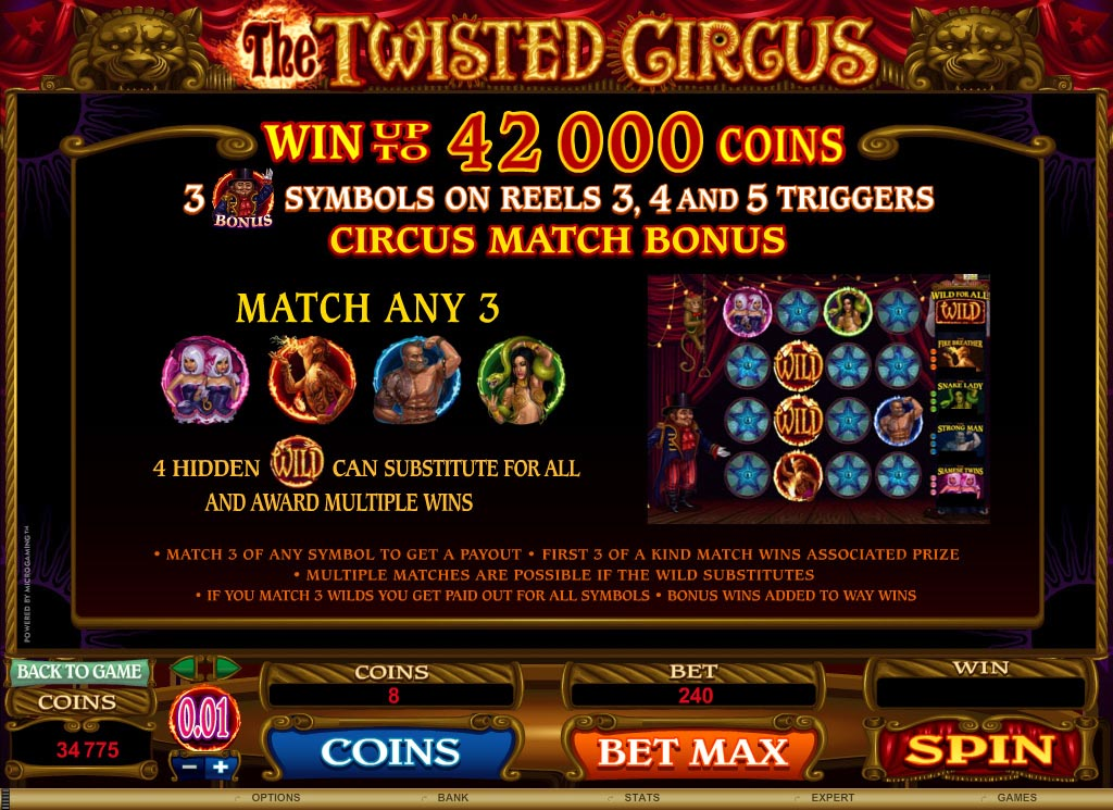 All About Slots - Microgaming The Twisted Circus Video Slot Review